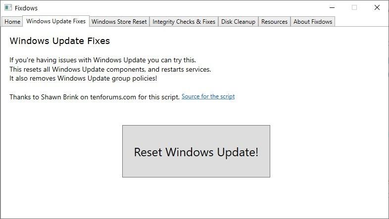 Fixdows es una utilidad de código abierto que le ayuda a corregir errores relacionados con Windows Update, la aplicación Microsoft Store y más