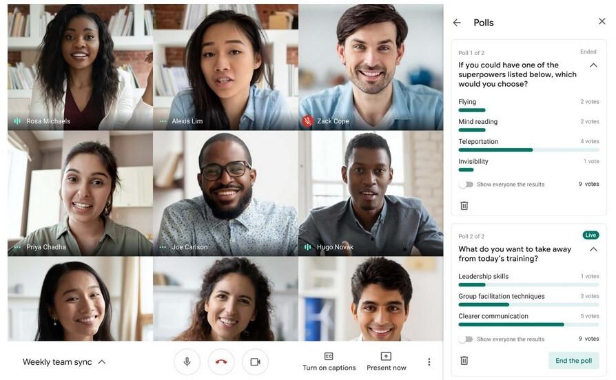 Google dice que realizar una encuesta al comienzo de una videoconferencia es una excelente manera de romper el hielo: ya no puede culpar a la batería de su teléfono por abandonar una videoconferencia de Google Meet