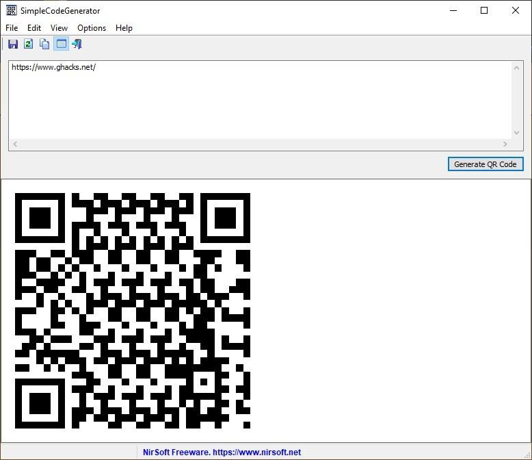 SimpleCodeGenerator es una nueva herramienta de NirSoft que le permite crear códigos QR para URL