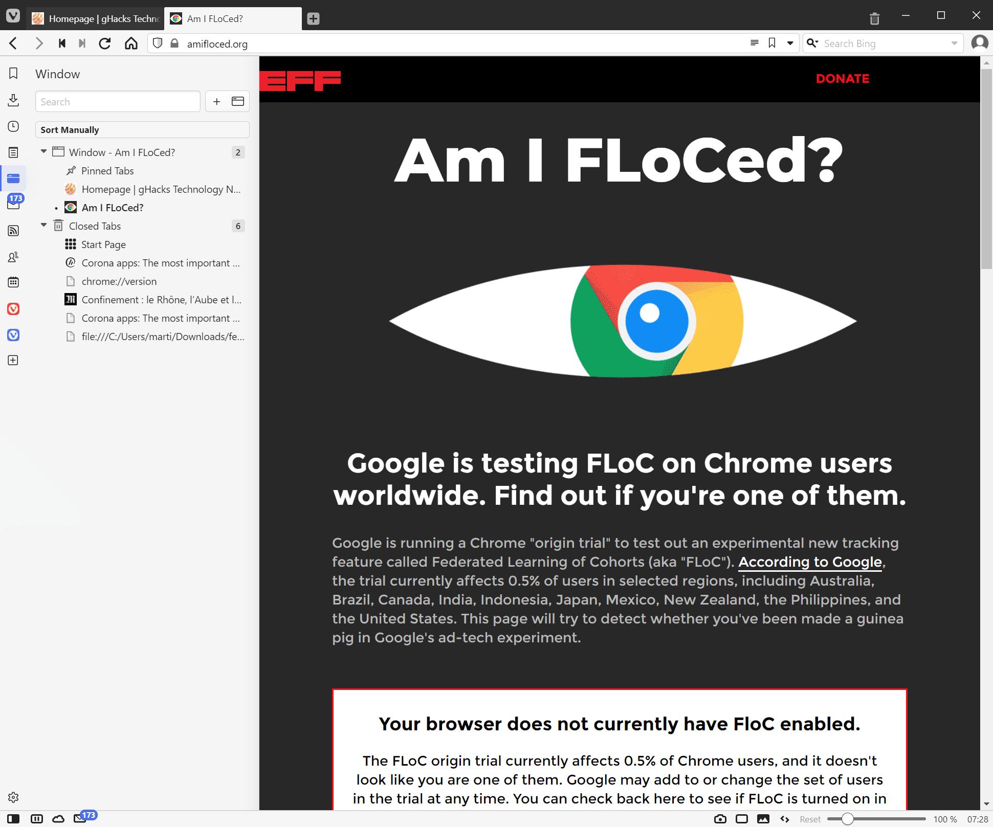 navegador vivaldi sin floc