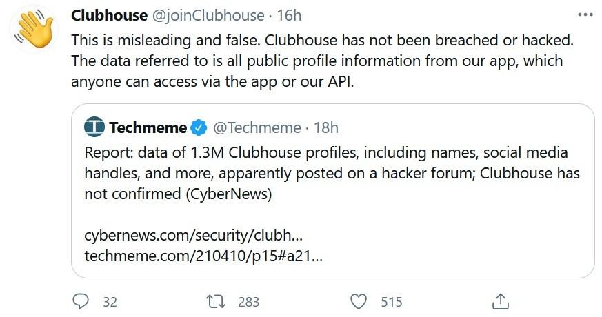 Clubhouse niega que haya ocurrido una filtración de datos: 1.3 millones de usuarios de Clubhouse tienen sus datos personales filtrados