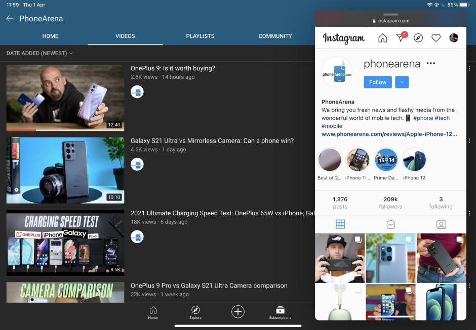 Así es como lo imagino, pero en lugar del sitio web de Instagram deberíamos poder abrir la aplicación de Instagram en Slide Over de esta manera.  Actualmente imposible.  - Lista de deseos de iPadOS 15: características principales que queremos ver en el iPad