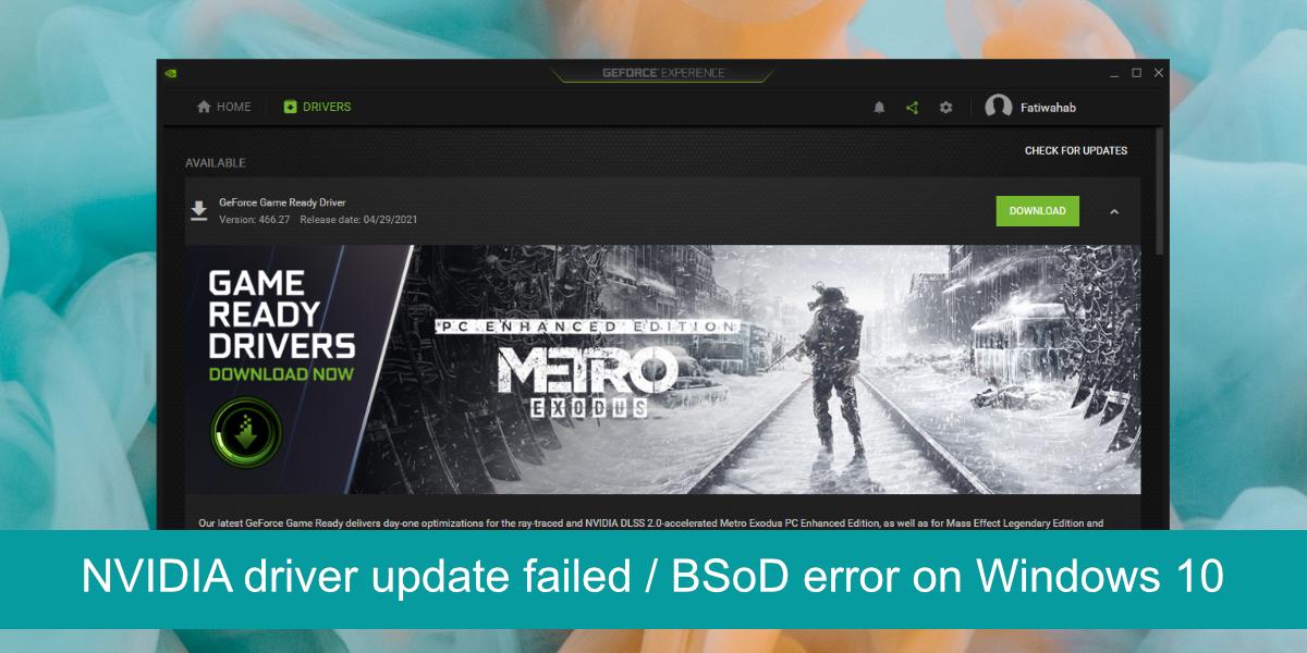 NVIDIA driver update failed