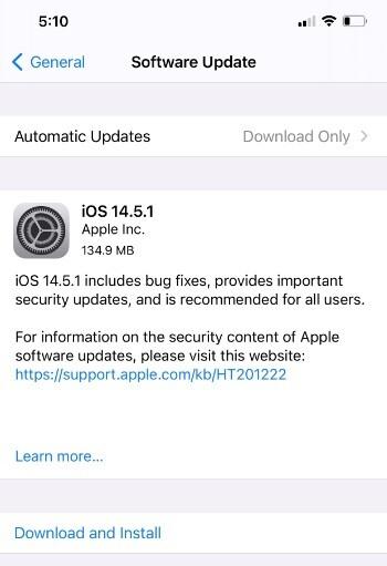 Una semana después de lanzar iOS 14.5, Apple lanza la actualización de seguridad iOS 14.5.1: los usuarios de iPhone de Apple deben instalar esta actualización de seguridad ahora o se enfrentan a perder el control de sus teléfonos