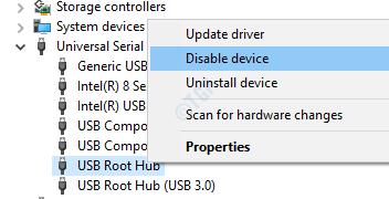 Deshabilitar el concentrador raíz USB