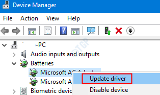 Actualizar el adaptador de Microsoft