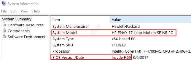 Versión de BIOS y modelo de sistema