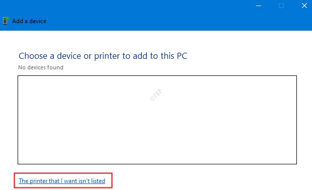 La impresora no está en la lista