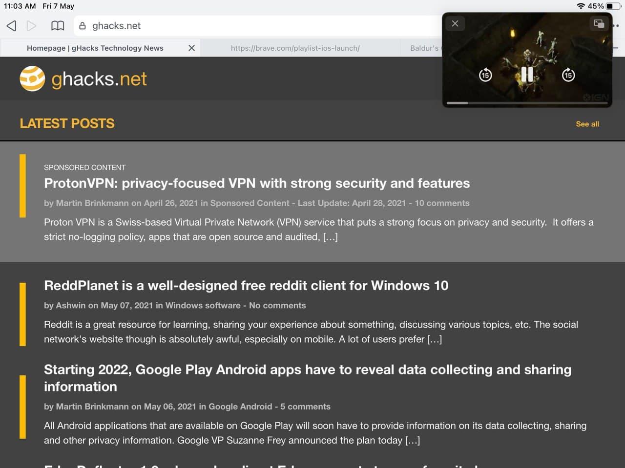 Brave browser para iOS: imagen de lista de reproducción en modo de imagen