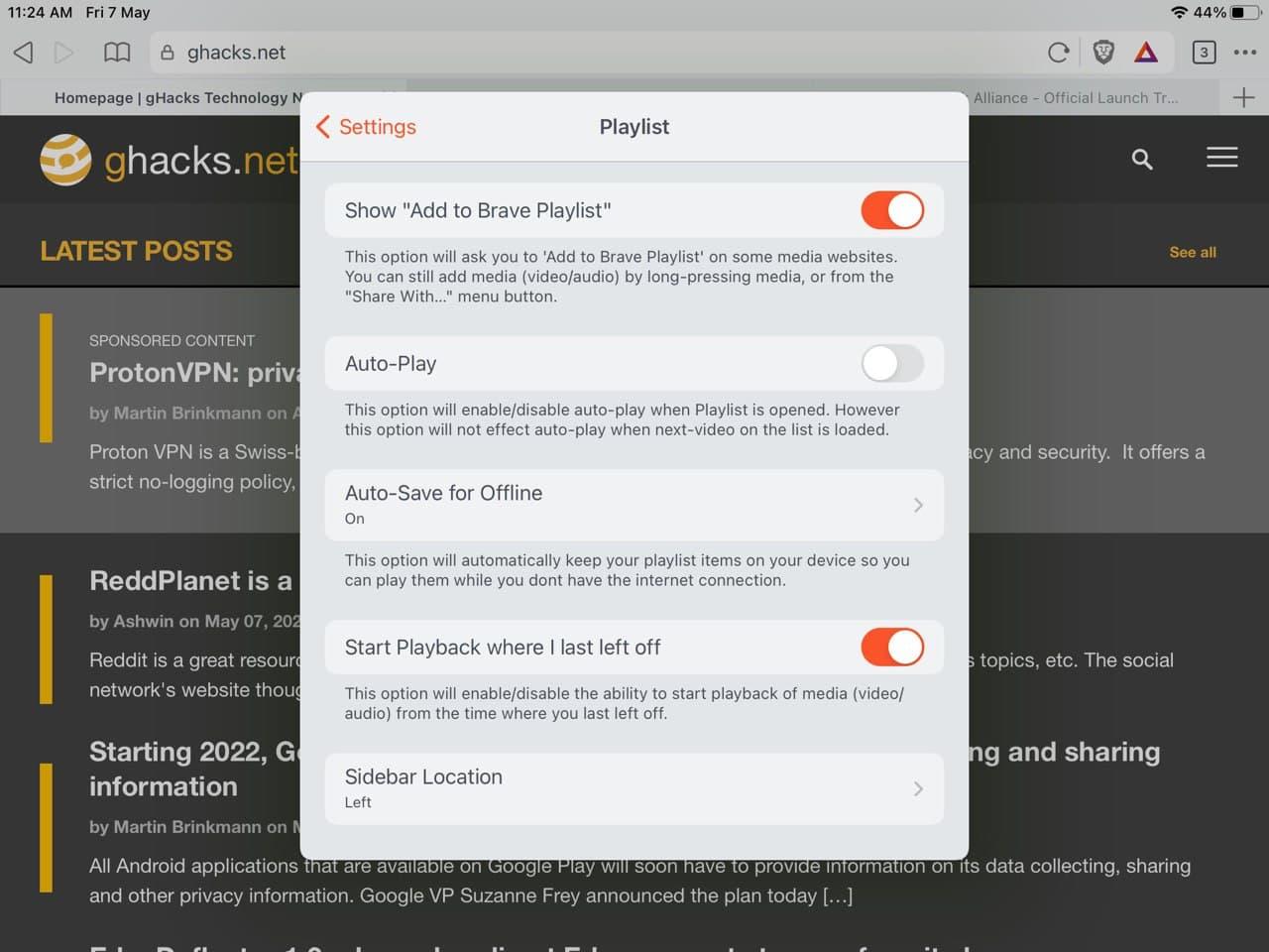 Brave browser para iOS: configuración de la lista de reproducción