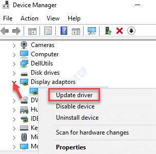 Administrador de dispositivos Adaptadores de pantalla Tarjeta gráfica Haga clic con el botón derecho en Actualizar controlador