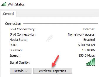 Estado de Wifi Propiedades inalámbricas generales