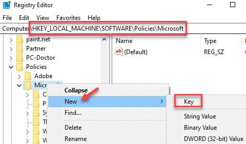 Editor del registro Navegar a la ruta Microsoft Right Click New Key