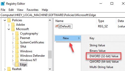 Editor de registro Borde Lado derecho Nuevo valor Dword (32 bits)