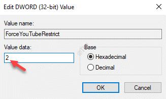 Editar Dword (32 bits) Valor Valor Datos 2 Ok