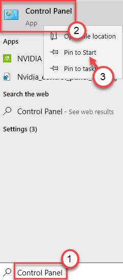 Mínimo de búsqueda del panel de control