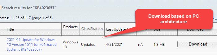 Descarga de la página de resultados de búsqueda del catálogo de Microsoft Update basada en la arquitectura de la PC