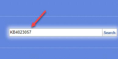 Página de catálogo de Microsoft Update Ingrese la búsqueda de número de Kb copiado