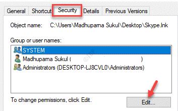 Propiedades Grupos de seguridad o nombres de usuario Editar