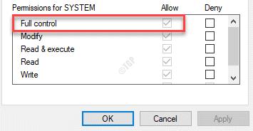 Permisos Control total Permitir verificación