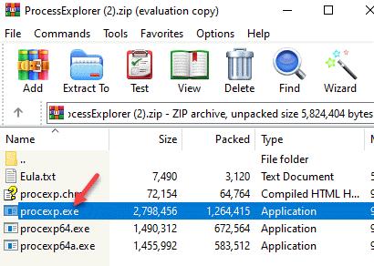 Carpeta zip Procexp.exe Arrastrar al escritorio