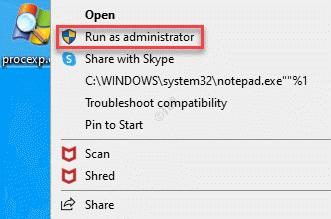 Process Explorer Haga clic con el botón derecho en Ejecutar como administrador
