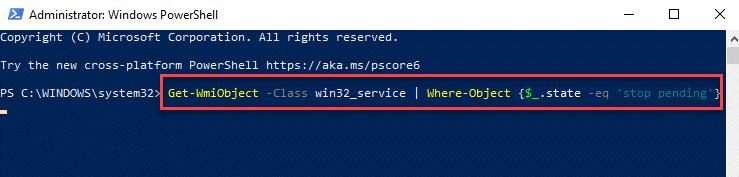 Windows Powershell (admin) Ejecutar comando para detener el servicio Ingrese