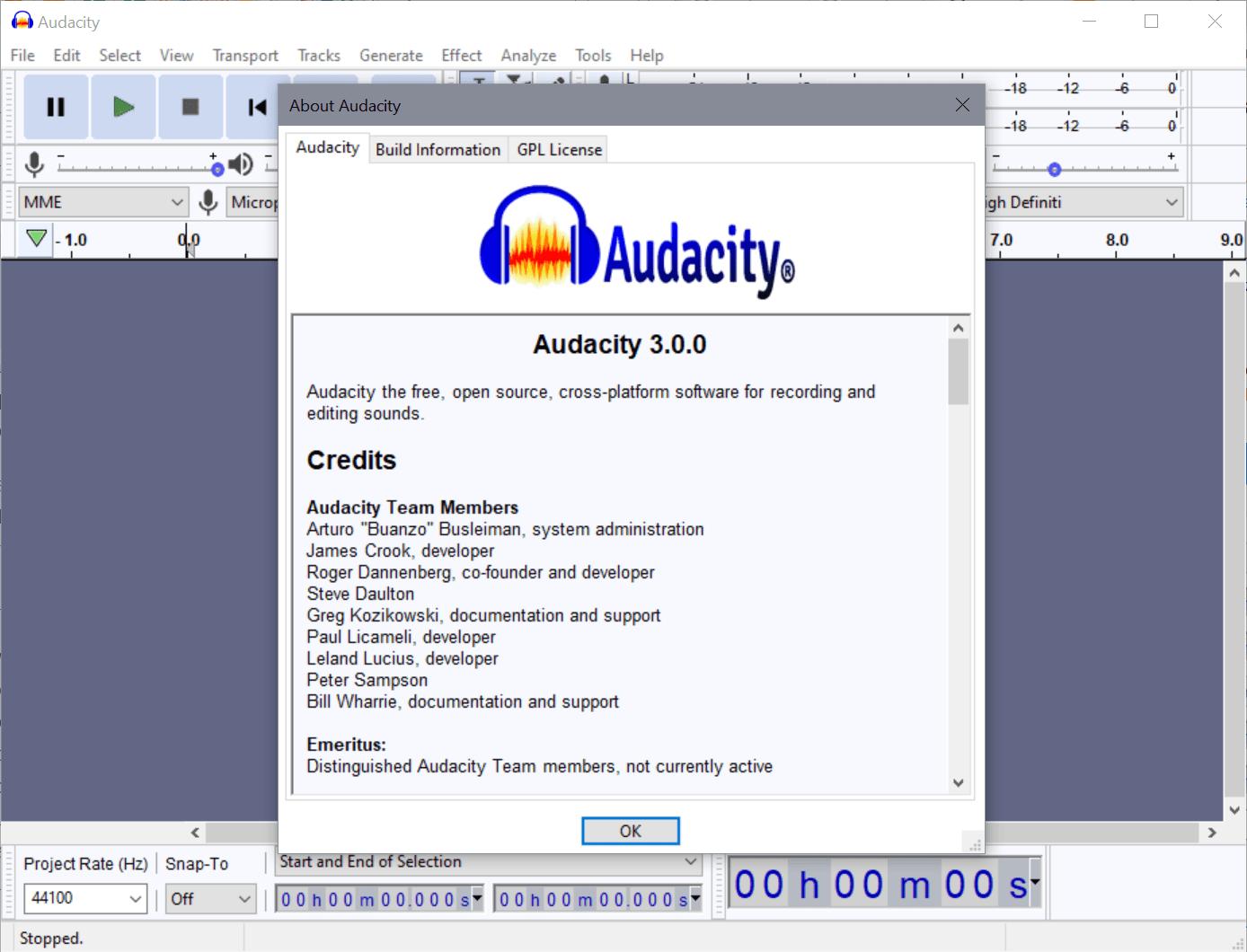 editor de audio audacity 3.0.0