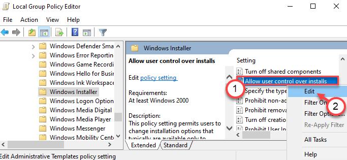 Permitir control de usuario Editar mínimo