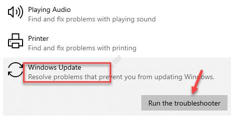 Solucionador de problemas adicional Puesta en marcha y ejecución de Windows Update Ejecute el solucionador de problemas