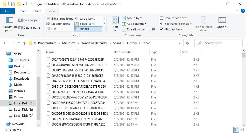 creación de archivos de error de windows defender