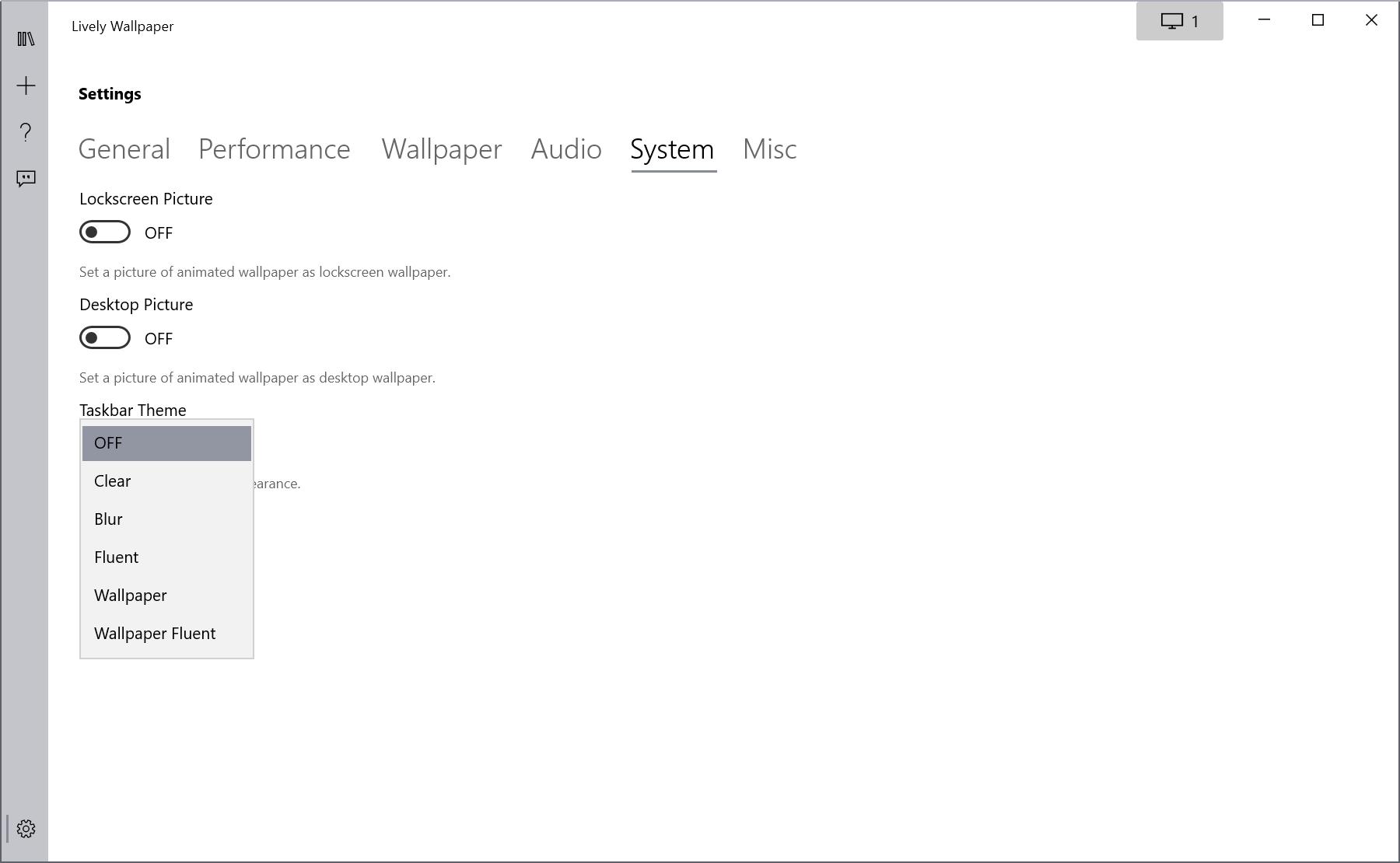 tema animado de la barra de tareas del fondo de pantalla