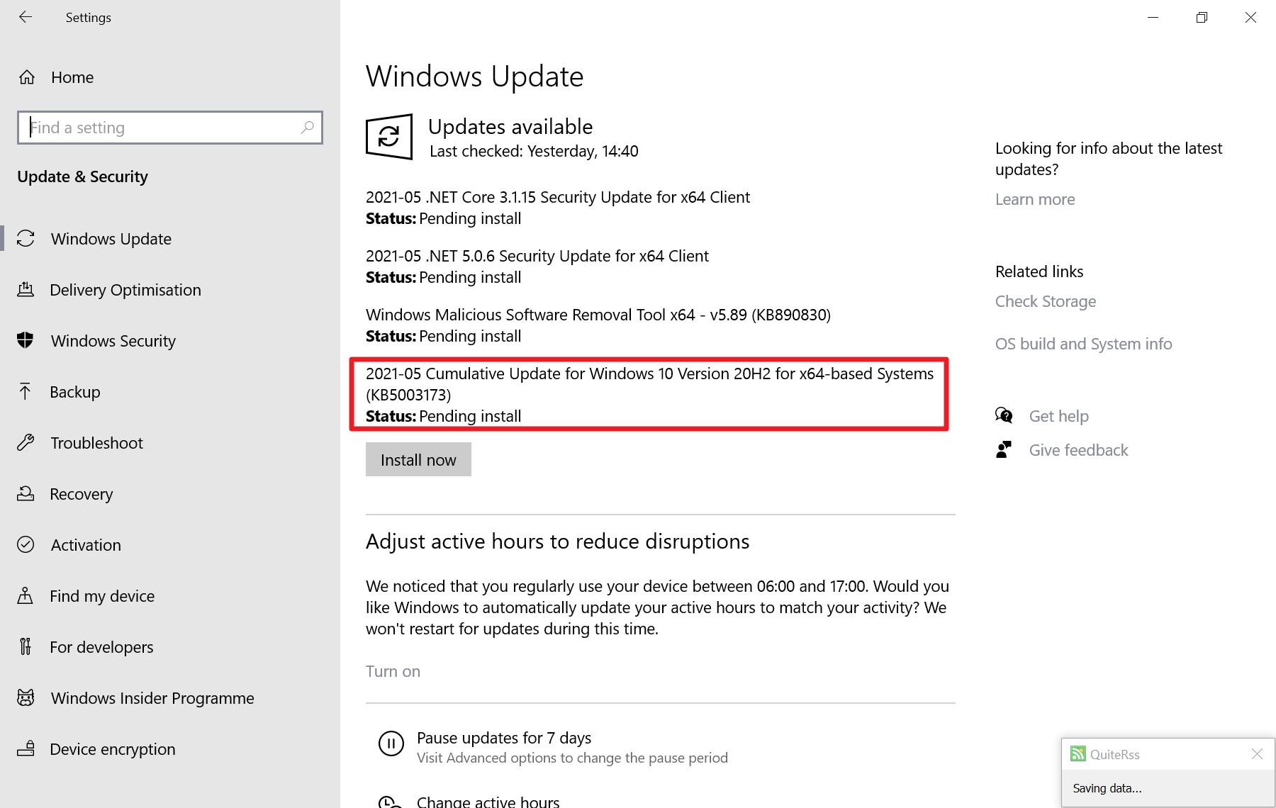 Error kb5003173 durante la instalación de la actualización 0x800f0922