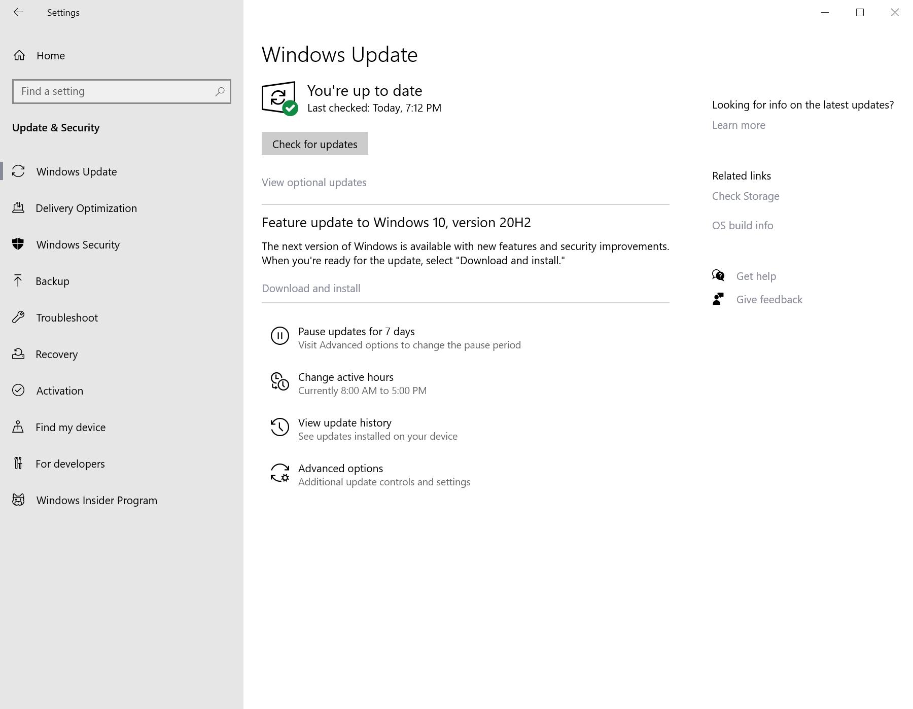 actualización de funciones de Windows 10 versión 20H2
