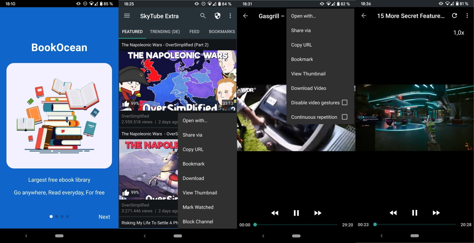 skytube aplicación de youtube android de código abierto