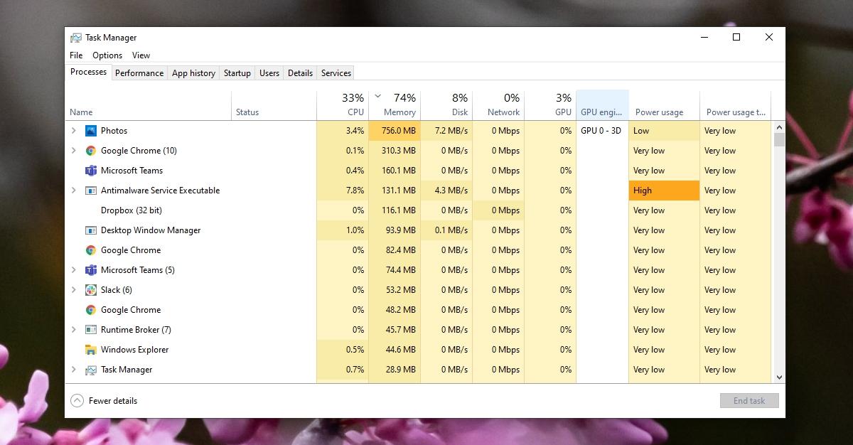 Alto uso de memoria de Microsoft Photos.exe