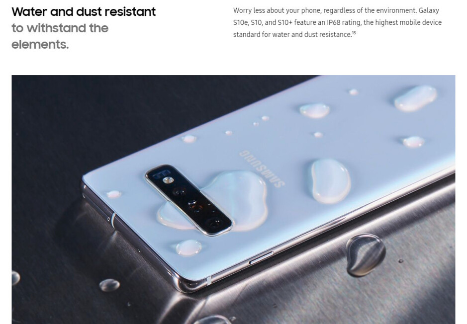 El Galaxy S10 en el sitio web de Samsung se presenta como 'resistente al agua', no como 'impermeable' - PSA: su teléfono no es resistente al agua y no será resistente al agua para siempre