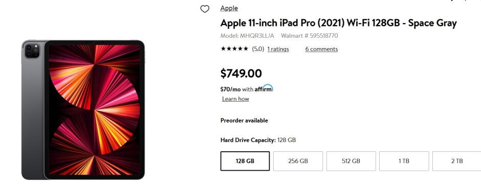 Walmart tiene a la venta el iPad Pro con Wi-Fi de solo 11 pulgadas y 128GB / 256GB: obtenga $ 50 de descuento en los pedidos anticipados de ciertos modelos Apple iPad Pro (2021) de 11 pulgadas en Walmart