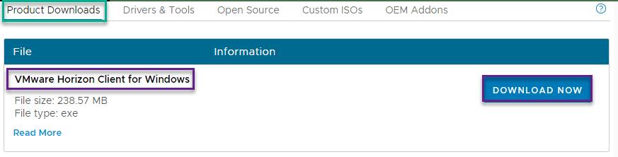 Mínimo de descarga de VMware