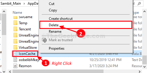 Eliminar caché de iconos