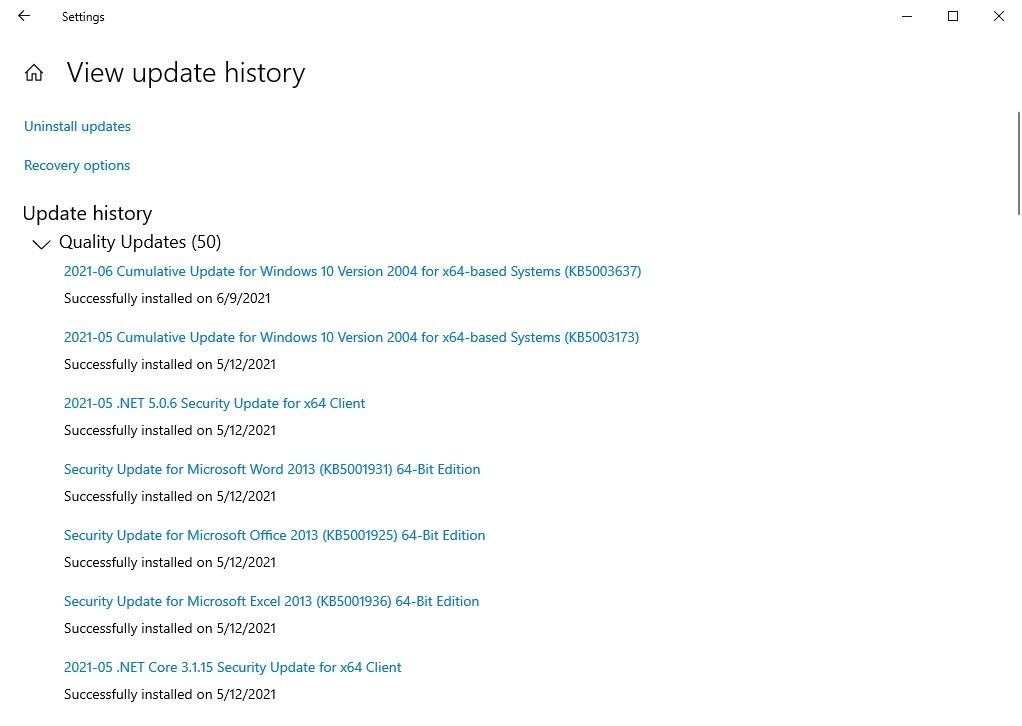 Actualizaciones de Windows de junio de 2021