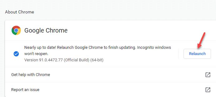 Acerca del reinicio de Chrome
