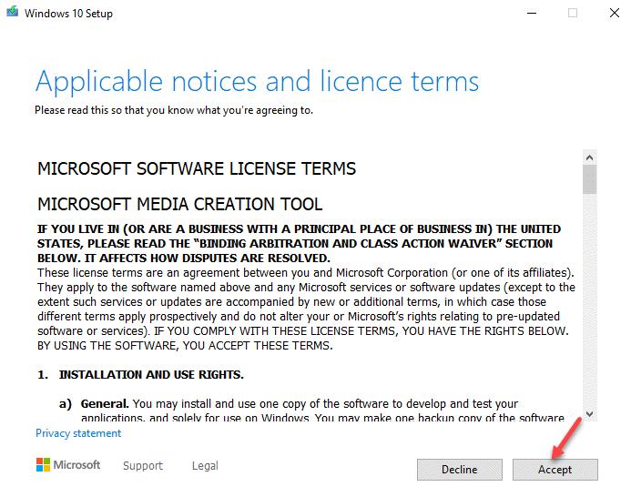 Se aceptan los avisos y los términos de licencia aplicables