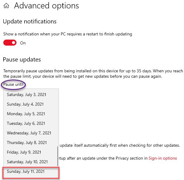 Última fecha para pausar la actualización mínima