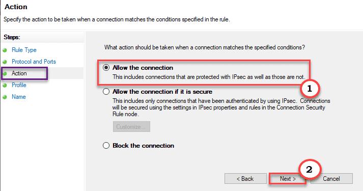Permitir la conexión mínima