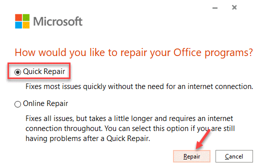 ¿Cómo le gustaría reparar sus programas de Office? Reparaciones rápidas Reparaciones