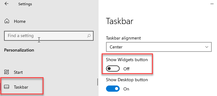 Widgets desactivados Min