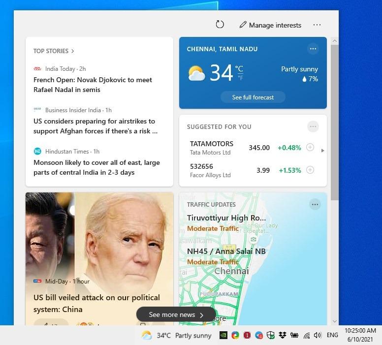 Cómo deshabilitar el widget del clima desde la barra de tareas de Windows 10