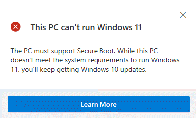 Pc Health Check Up This Pc Cant Run Windows 11 Message