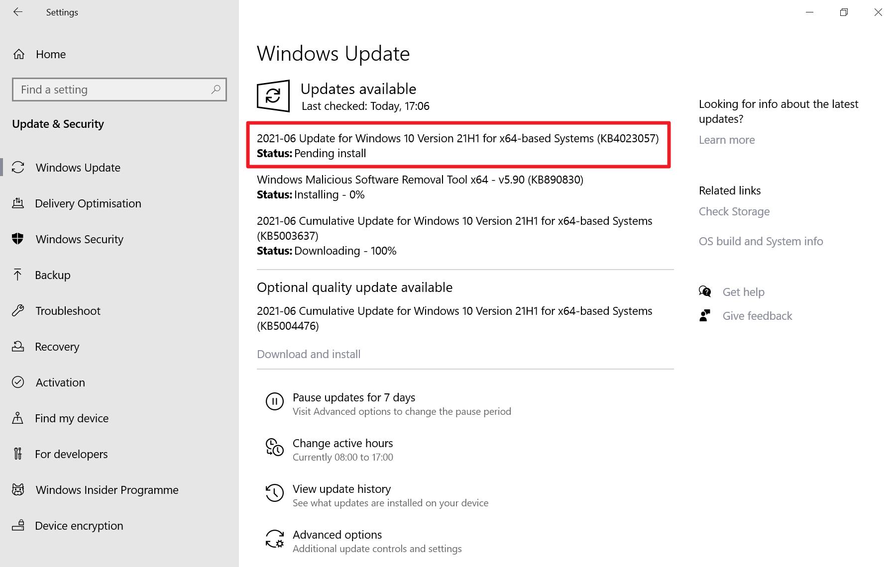 KB4023057 windows 10 de junio de 2021